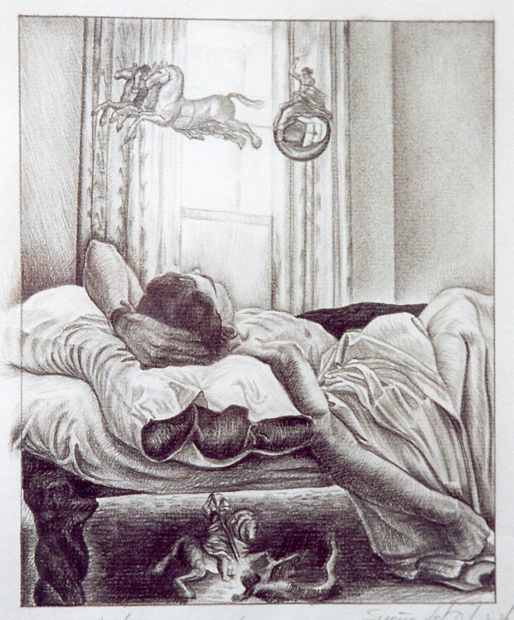 Apolo de paseo por la habitación mientras san jorge mata al dragón debajo de mi cama, lápiz sobre papel.
