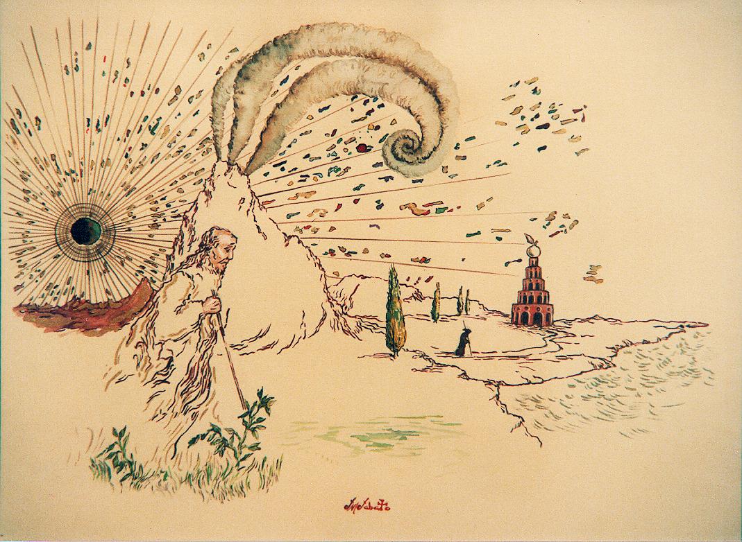 El buscador, acuarela, lápiz de color y tinta sobre papel.