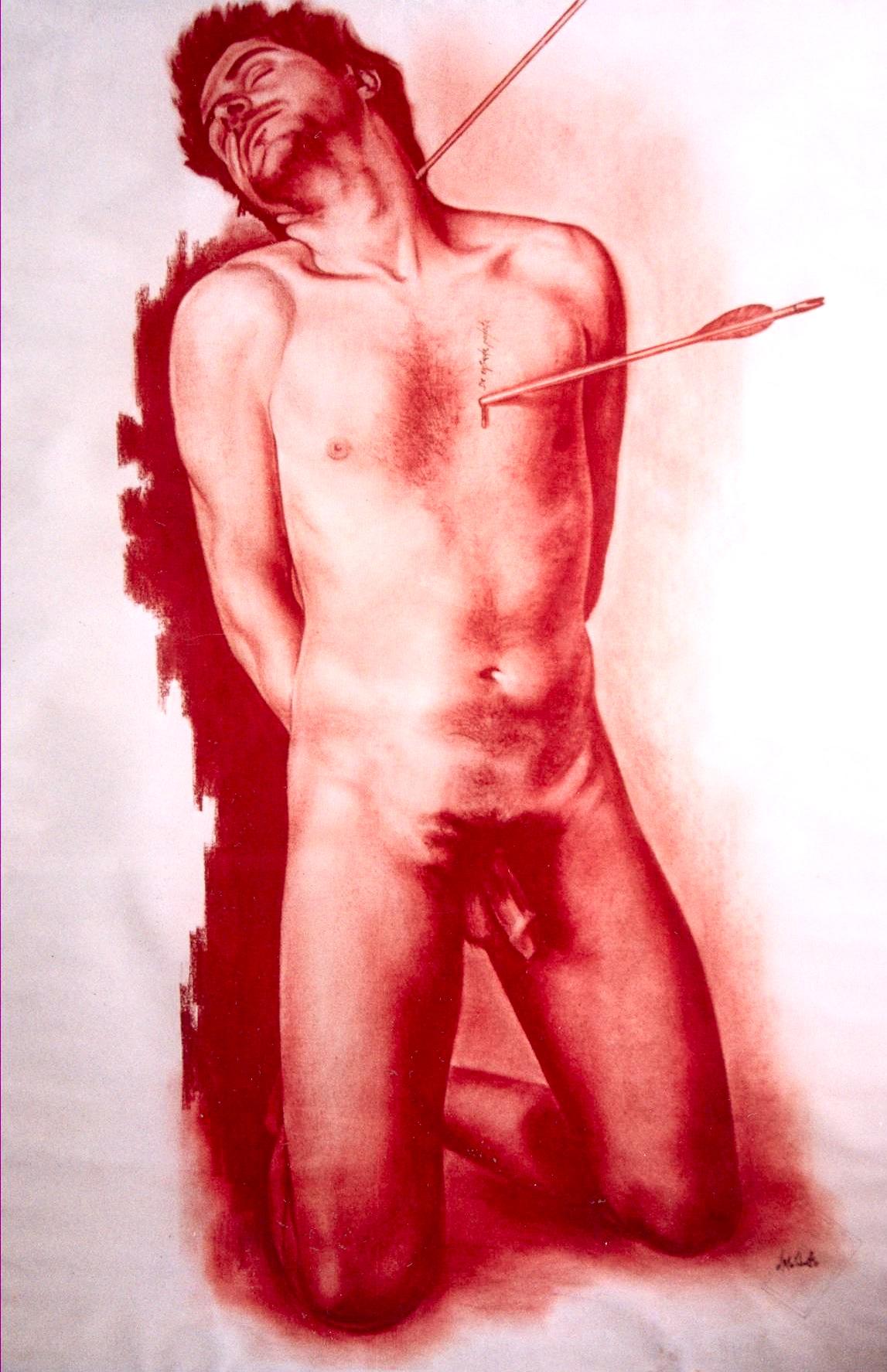 Estudio de anatomía, sanguina sobre papel.